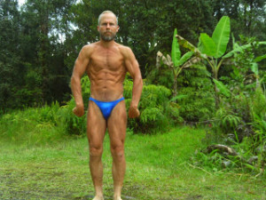 Charlie Abel Blue bathing suit front shot