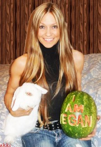 gina matthews i am vegan watermelon with white rabbit