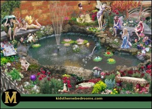 fairy garden around water feature