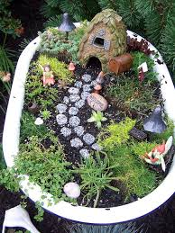 fairy garden in bathtub
