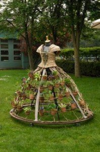green dress made of flower pots