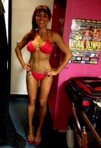 irina before front red bikini