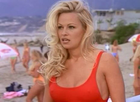 pamela anderson red bathing suit