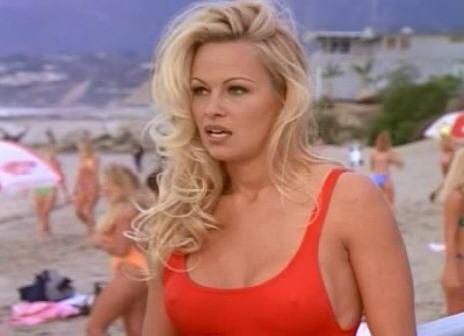 pamela anderson red bathing suit